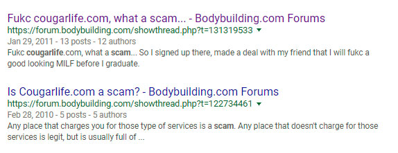 bodybuilding cougarlife scam